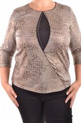 Dámske tričko s čiernym vzorom a štrasom - hnedé D3 veľkosť
