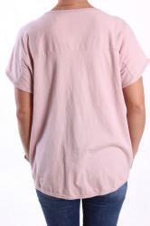 Dámske tričko s lesklými vzormi - bledoružové #1