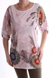 Dámske tričko s perím vzorom - ružovo-biele