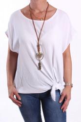 Dámske tričko s retiazkou - biele