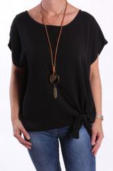 Dámske tričko s retiazkou - čierne