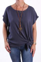 Dámske tričko s retiazkou - sivo-modré