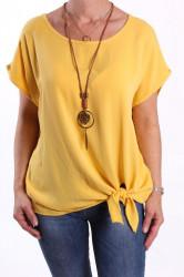 Dámske tričko s retiazkou - žlté