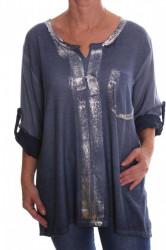 Dámske tričko s vreckom a strieborným leskom - modré