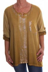 Dámske tričko s vreckom a strieborným leskom - okrové