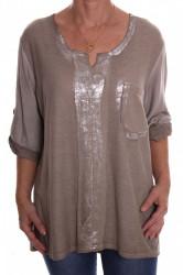 Dámske tričko s vreckom a strieborným leskom - sivo-hnedé