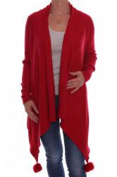 Dámsky elastický sveter s brmbolcami (A3329) - červený D3