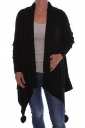 Dámsky elastický sveter s brmbolcami (A3329) - čierny D3