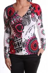 Dámsky elastický sveter vzorovaný kruhmi - biely