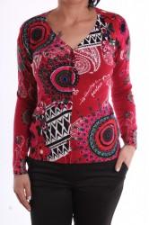 Dámsky elastický sveter vzorovaný kruhmi - červený