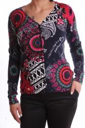 Dámsky elastický sveter vzorovaný kruhmi - tmavomodrý