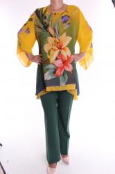 Dámsky nohavicový komplet - žlto-zelený