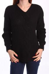 Dámsky pletený pulóver - čierny