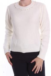 Dámsky pulóver s korálkami pletený (7498,SW) - biely D3