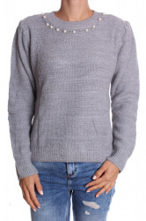 Dámsky pulóver s korálkami pletený (7498,SW) - sivý D3