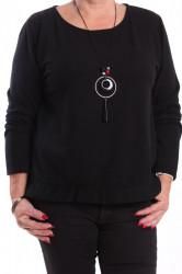 Dámsky pulóver s retiazkou - čierny