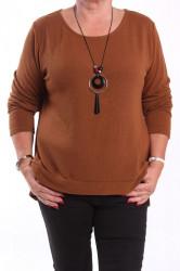 Dámsky pulóver s retiazkou - hnedý