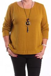 Dámsky pulóver s retiazkou - žltý