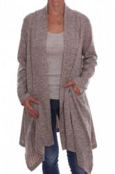 Dámsky sveter so šálovým golierom - sivo-béžový D3