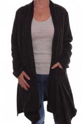 Dámsky sveter so šálovým golierom - sivo-čierny D3