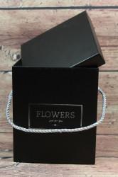 Darčeková krabica FLOWERS - čierna (15x18x16 cm) #1