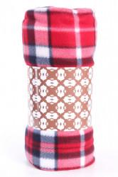 Deka flísová kockovaná (200x230 cm) - červená