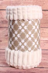 Deka flísová vrúbkovaná (150x200 cm) - béžovo-biela