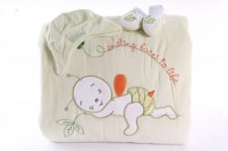 Detská deka s macíkom - bledozelená