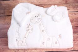 Detská deka so žirafami - biela (90x90 cm)