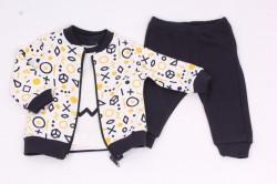 Detská súprava s mikinou - tmavomodro žltá