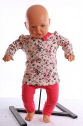 Dievčenská elastická súprava s mašľou - maslovo-ružová