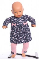 Dievčenská elastická súprava vzorovaná s mašličkami - tmavomodro-ružová