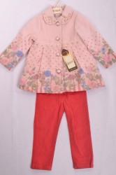 Dievčenská súprava s kabátikom - losovo-ružová