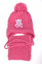 Dievčenská zateplená čiapka s macíkom a šálom - ružová 2.