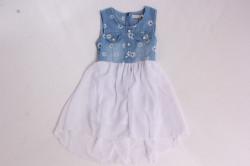 Dievčenské rifľové šaty s bielou sukňou