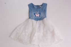 Dievčenské rifľové šaty s motýlikom a bielou sukňou
