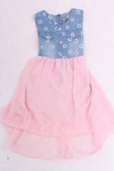 Dievčenské rifľové šaty s ružovou sukňou