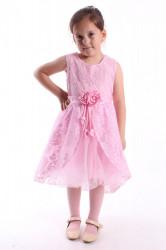 Dievčenské spoločenské šaty krajkové s tylom - ružové