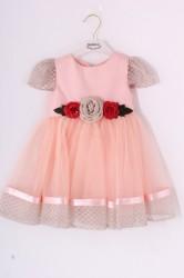 Dievčenské tylové šaty s RUŽAMI - marhuľové