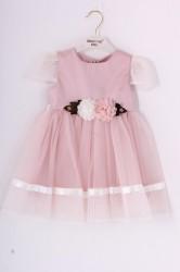 Dievčenské tylové šaty s RUŽAMI - ružové