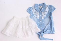 Dievčenský rifľový dvojkomplet s bielou sukňou