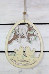 Drevená dekorácia na zavesenie VAJÍČKO S VTÁČIKMI (v. 18,5 cm)