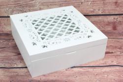 Drevená krabica na čaj so vzorom - biela (24,5x8,5x24 cm)