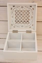 Drevená krabica na čaj vzorovaná - biela (18x8x18 cm)