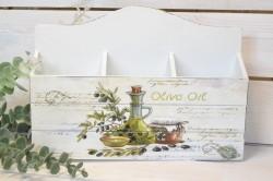 Drevená krabica na listy OLIVE OIL - biela (30x20x5 cm)