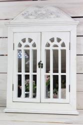Drevená okenica so zrkadlom - biela (49x59,5x3,5 cm)
