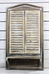 Drevená okenica so zrkadlom - hnedá (40x72x17 cm)