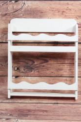 Drevená polička - biela (30x35 cm)