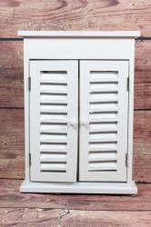 Drevená skrinka na kľúce - biela (22x30x6 cm)