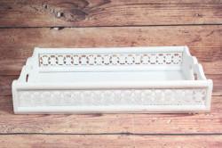 Drevená tácka - biela (42x7,5x27,5 cm)